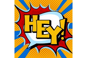 Hey word comic book pop art vector