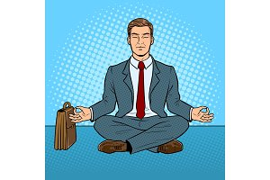 Meditating businessman pop art vector illustration