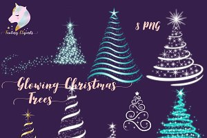 Glowing Christmas Trees Clipart