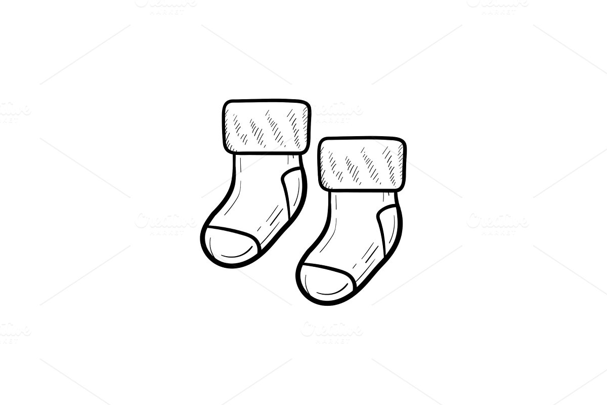 07c87b1a3931 Baby pair of socks hand drawn outline doodle icon. ~ Graphic Objects ...