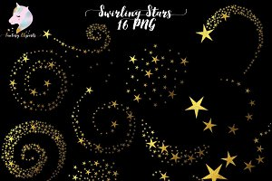 Gold Foil Swirling Stars Clipart