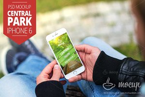 "iPhone 6 PSD Mockup Central Park ""A"""