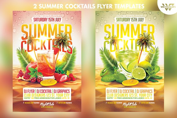 2in1 summer cocktail flyer template flyer templates creative market