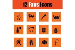 Set of soccer fans icons