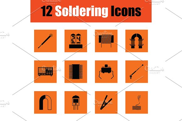 Set of twelve soldering  icons