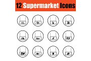 Supermarket icon set