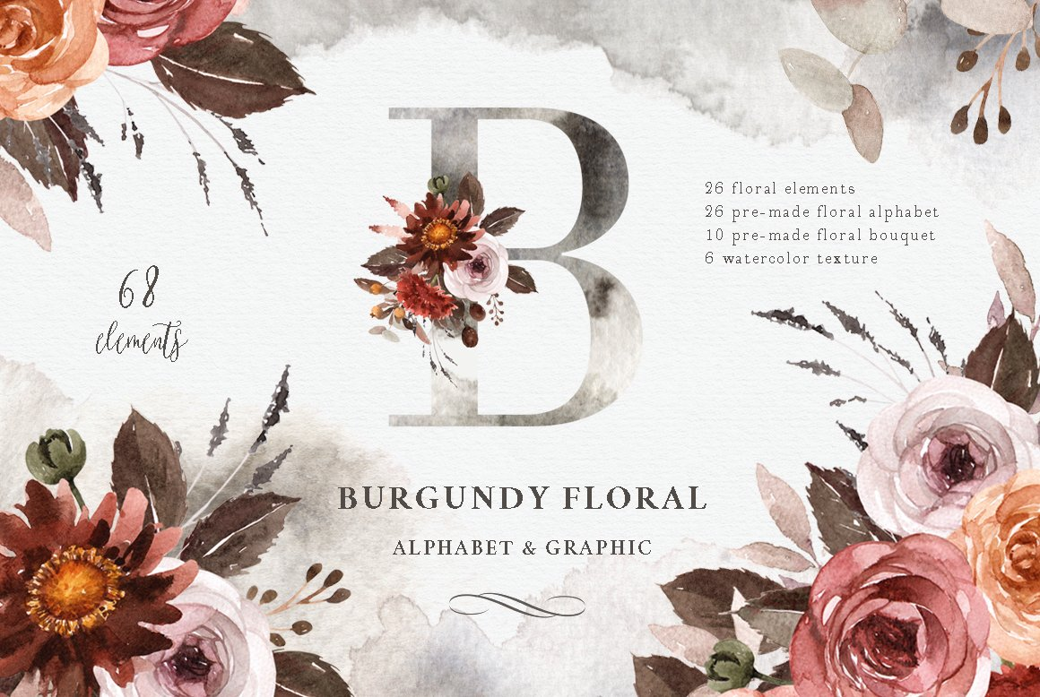 Burgundy Floral Watercolor Clipart Illustrations Creative Market