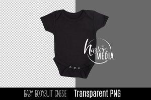 PNG Cutout Blank Black Baby Onesie