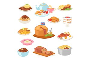 British food vector english breakfast meal and fried meat with potato for dinner or lunch illustration set of traditional dishes in restaurant in Britain isolated on white background