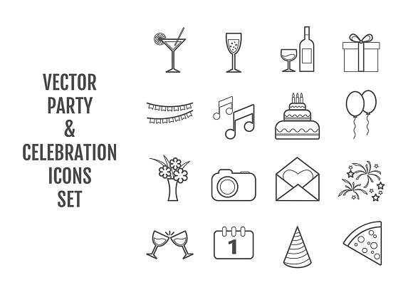 Set of 16 vector line party icons in Icons
