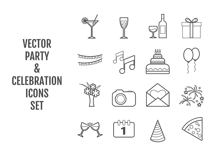 Set of 16 vector line party icons in Graphics - product preview 8