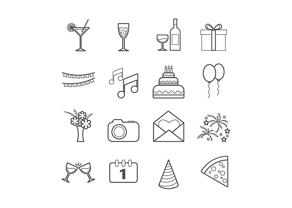 Set of 16 vector line party icons in Graphics - product preview 1