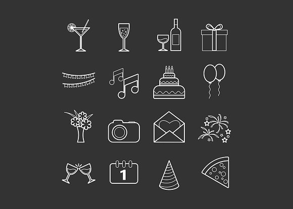 Set of 16 vector line party icons in Graphics - product preview 2