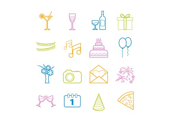 Set of 16 vector line party icons in Graphics - product preview 3