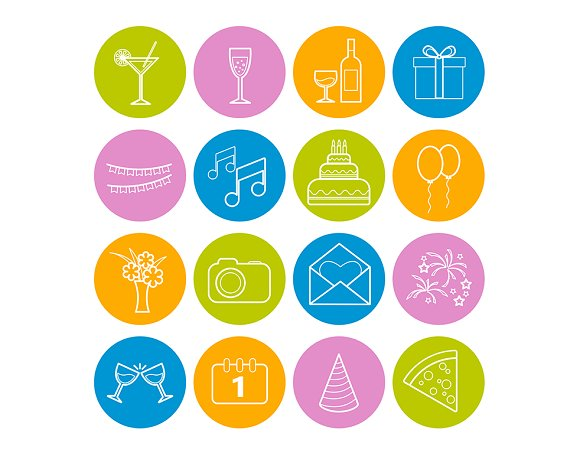 Set of 16 vector line party icons in Graphics - product preview 4