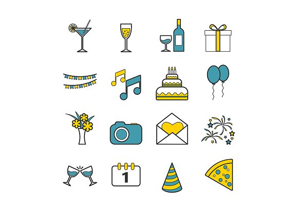 Set of 16 vector line party icons in Graphics - product preview 5