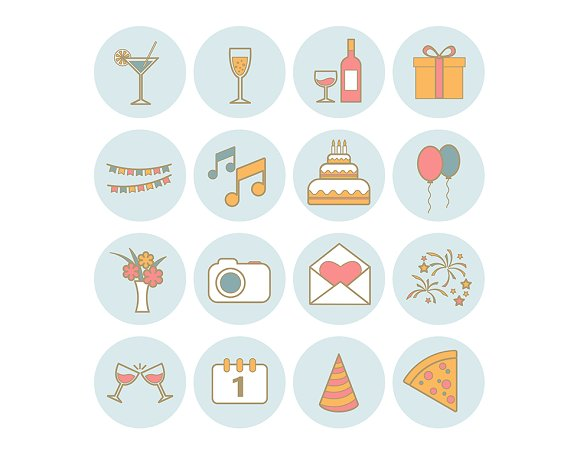 Set of 16 vector line party icons in Graphics - product preview 6