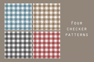 Textured plaid seamless patterns set