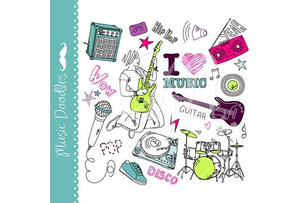 Music clip art, collage set, doodle…