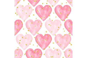 Wedding aquarelle pink seamless pattern with hearts