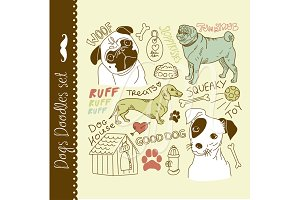 24 Dogs clip art elements. Pug puppy