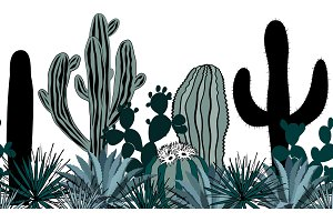 Hand drawn seamless pattern with cacti