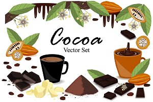 Banner with super food cocoa collection. Pod, beans, cocoa butter, cocoa liquor, chocolate, cocoa drink, splash, and powder. Vector set