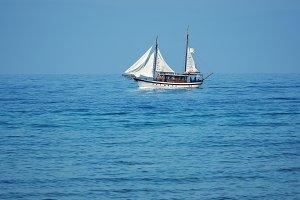 Sailing ship in open sea