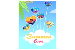 Summer Love Photos of Couples in Heart Shape Frame