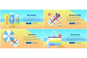 Relaxation on Beach in Summertime Vector Poster