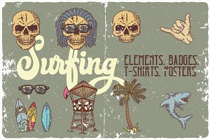 Surfing hand drawn elements