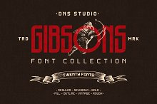Gibsons Font Collection (Intro Sale) by DNS Studio in Display Fonts