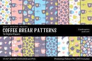 Coffee Break Digital Papers Pastel