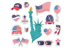 Happy American Flag Day Bright Stickers Collection