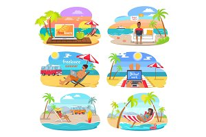 Summer Freelance Distant Work Colorful Posters Set
