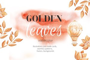 Golden leaves.Watercolor elements.