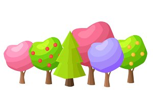 Low Poly Colorful Trees Flat Vector Set