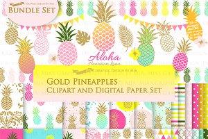 Gold Glitter Pineapple