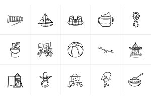 Kids hand drawn sketch icon set.