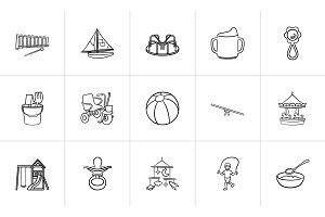 Kids hand drawn sketch icon set.