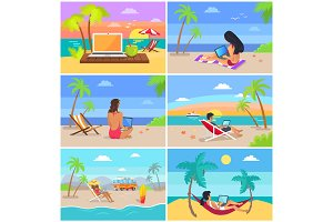 Laptop and People by Seaside Vector Illustration