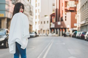 woman with white jacket