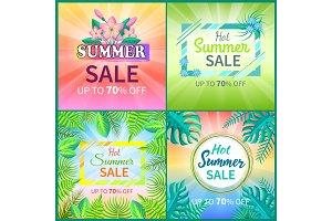 Summer Sale Set of Banners Vector Illustration