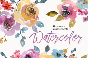 Watercolor Flowers & Bouquets PNG