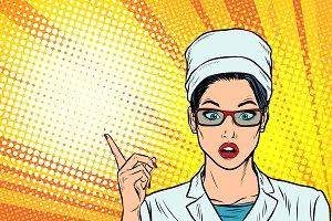 Surprised doctor woman presentation gesture