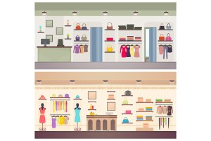 Two Designs of Female Clothing Shops Vector Banner