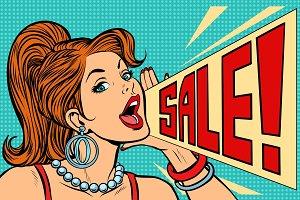 Woman announcing sale