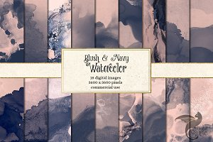 Blush and Navy Watercolor Textures
