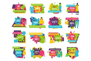 Big Bundle Promo Badges Colorful Labels Exclusive