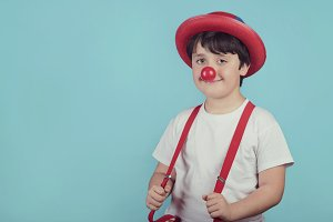 funny child with clown nose